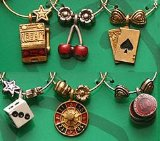 Casino Wine Glass Charms from: that wine is mine! - 1414P